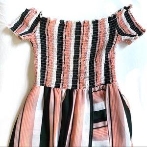 Multi Color Striped Off shoulder Dress/Shorts 💝